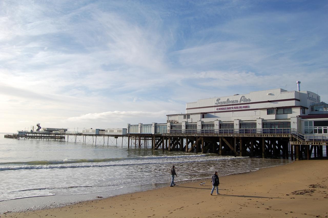 Sandown beach with pier
