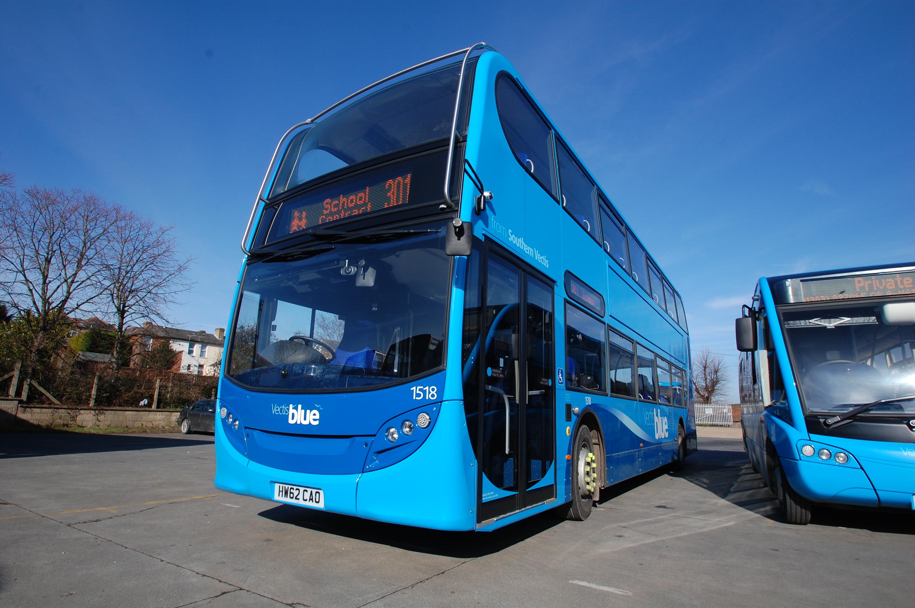 vectis blue double deck bus