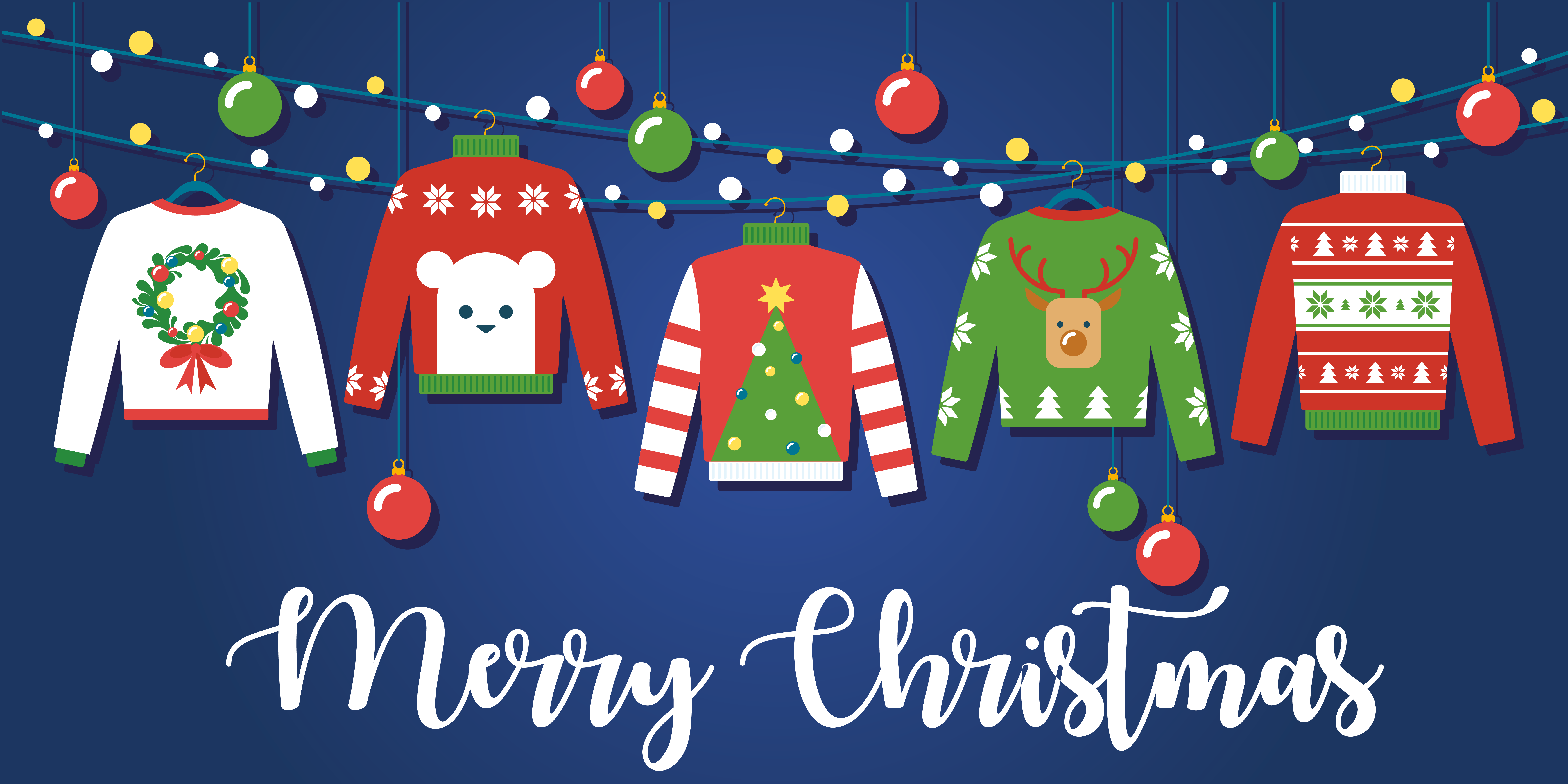 christmas jumpers and text merry christmas