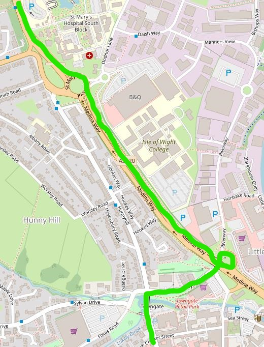 map of newport showing route