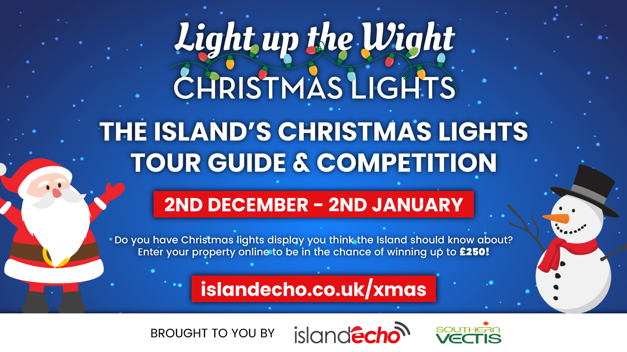 Light up the Wight Christmas lights with illustration of father Christmas and snowman