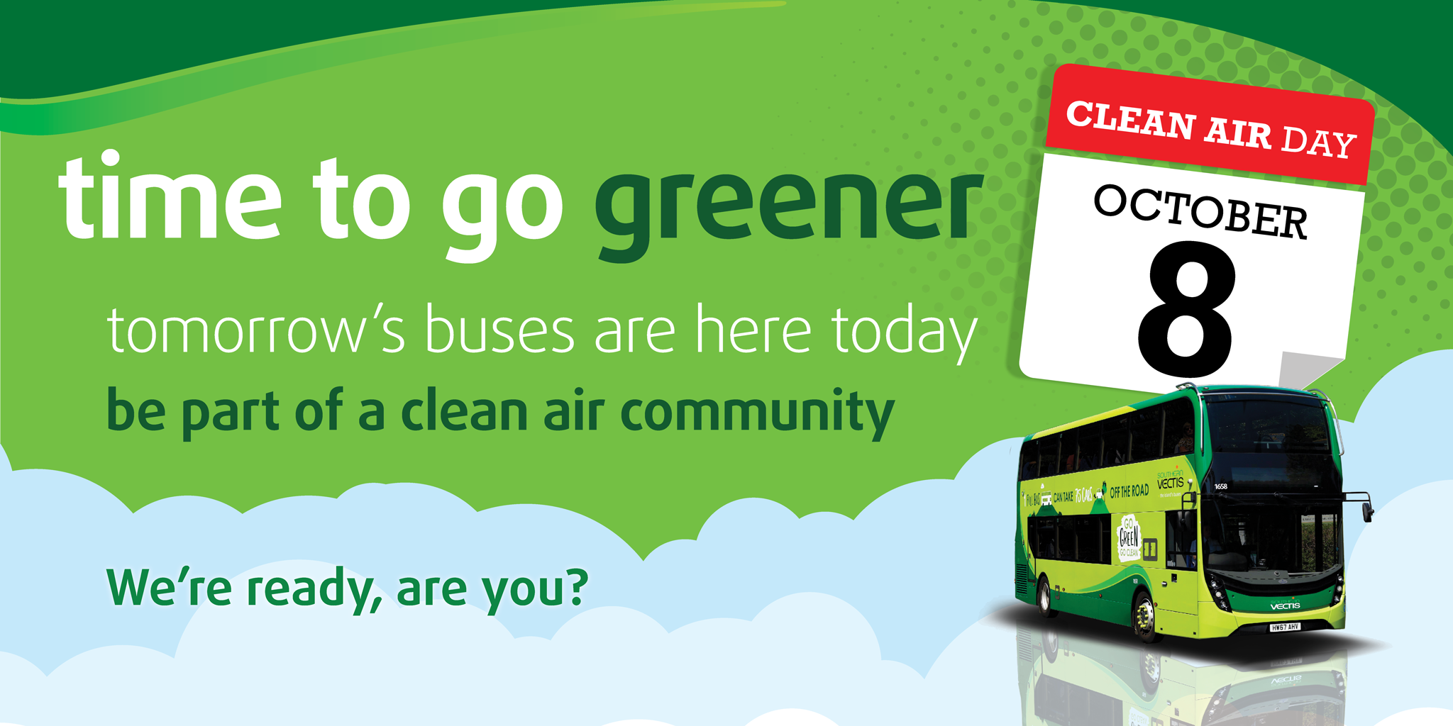 illustration of bus and text time to go greener and calendar showing October 8th