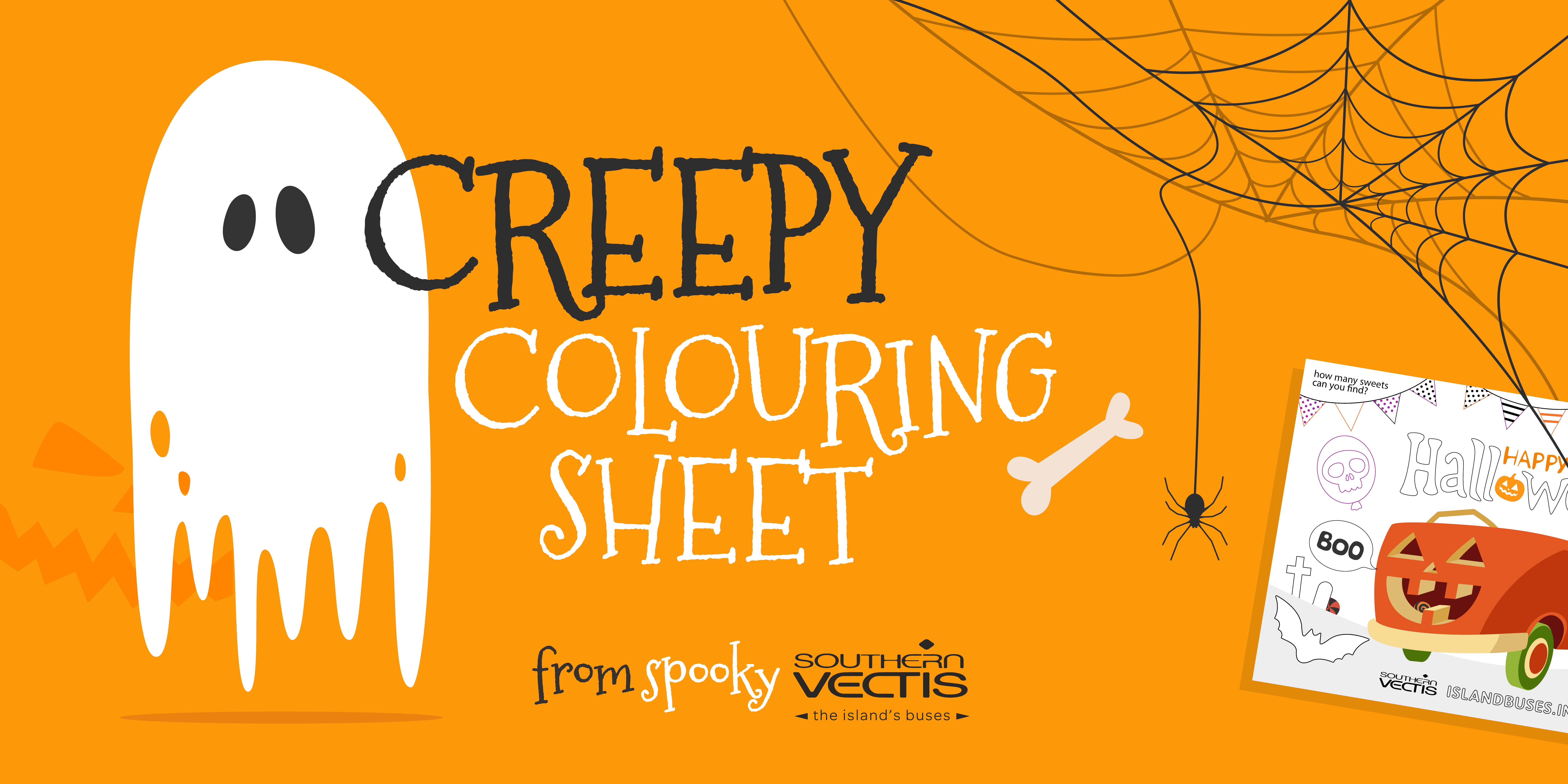 illustration of ghost and spiders web and text creepy colouring sheet