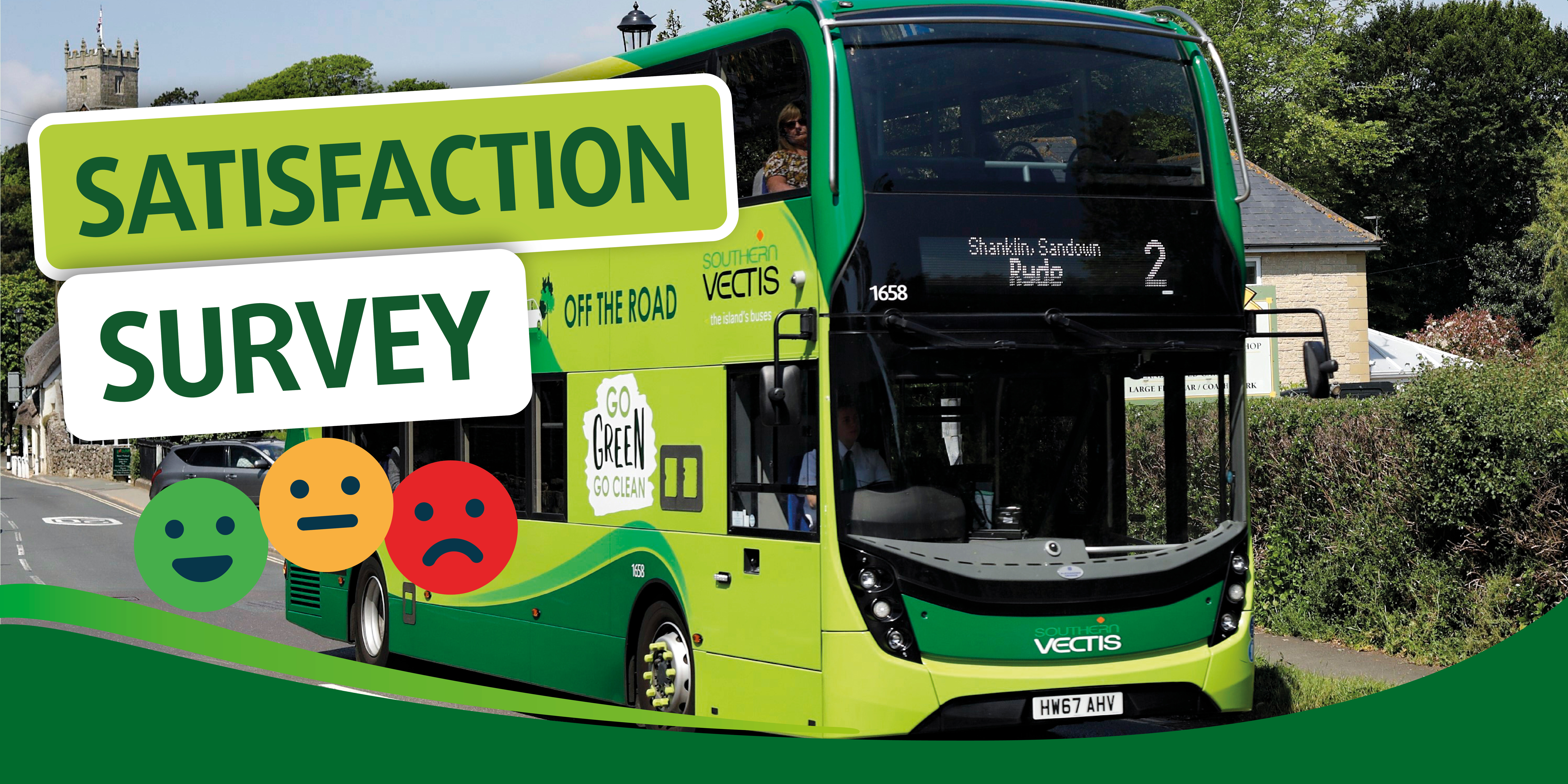 Satisfaction survey and bus image