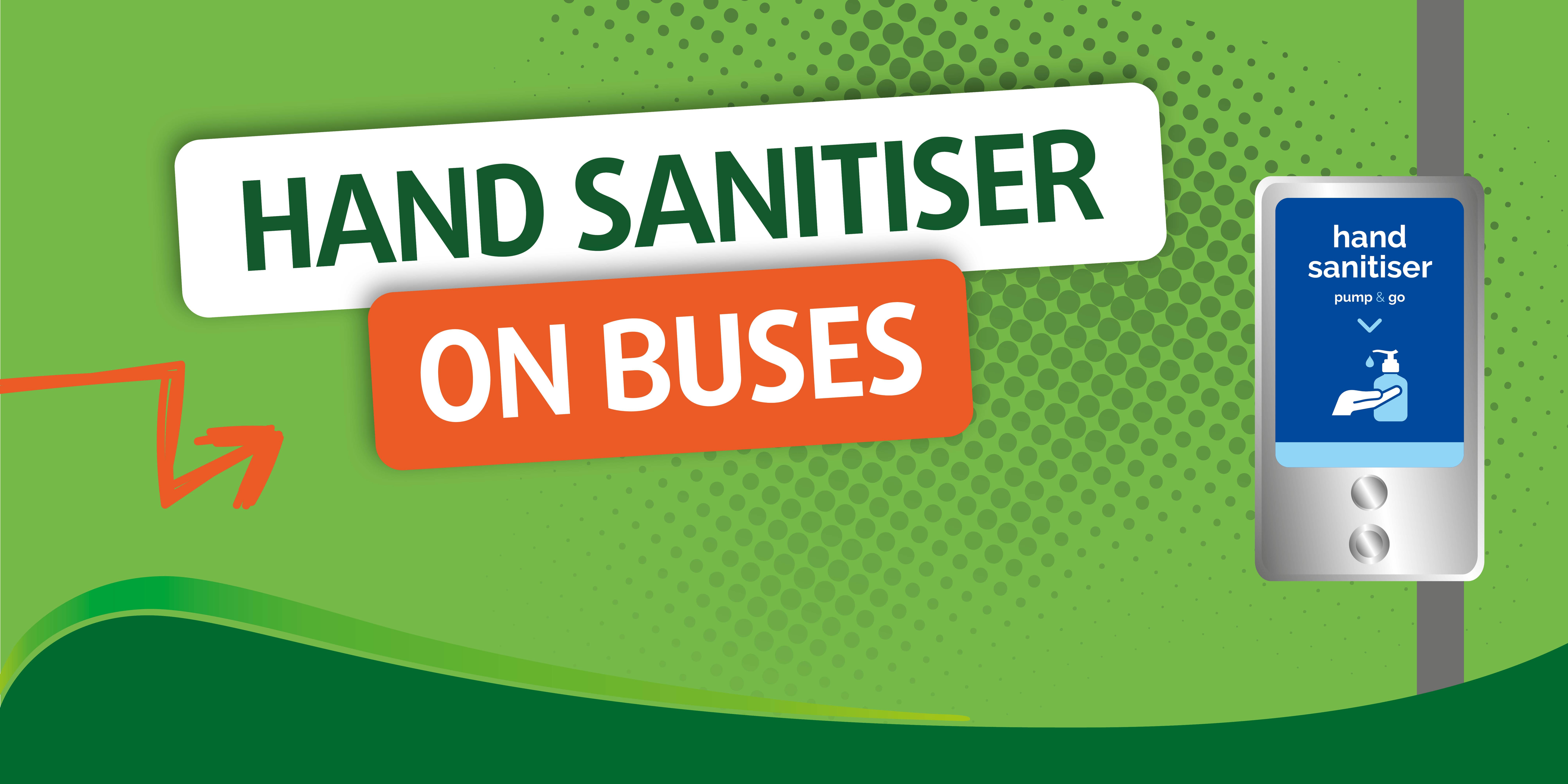 illustration of hand sanitiser on bus