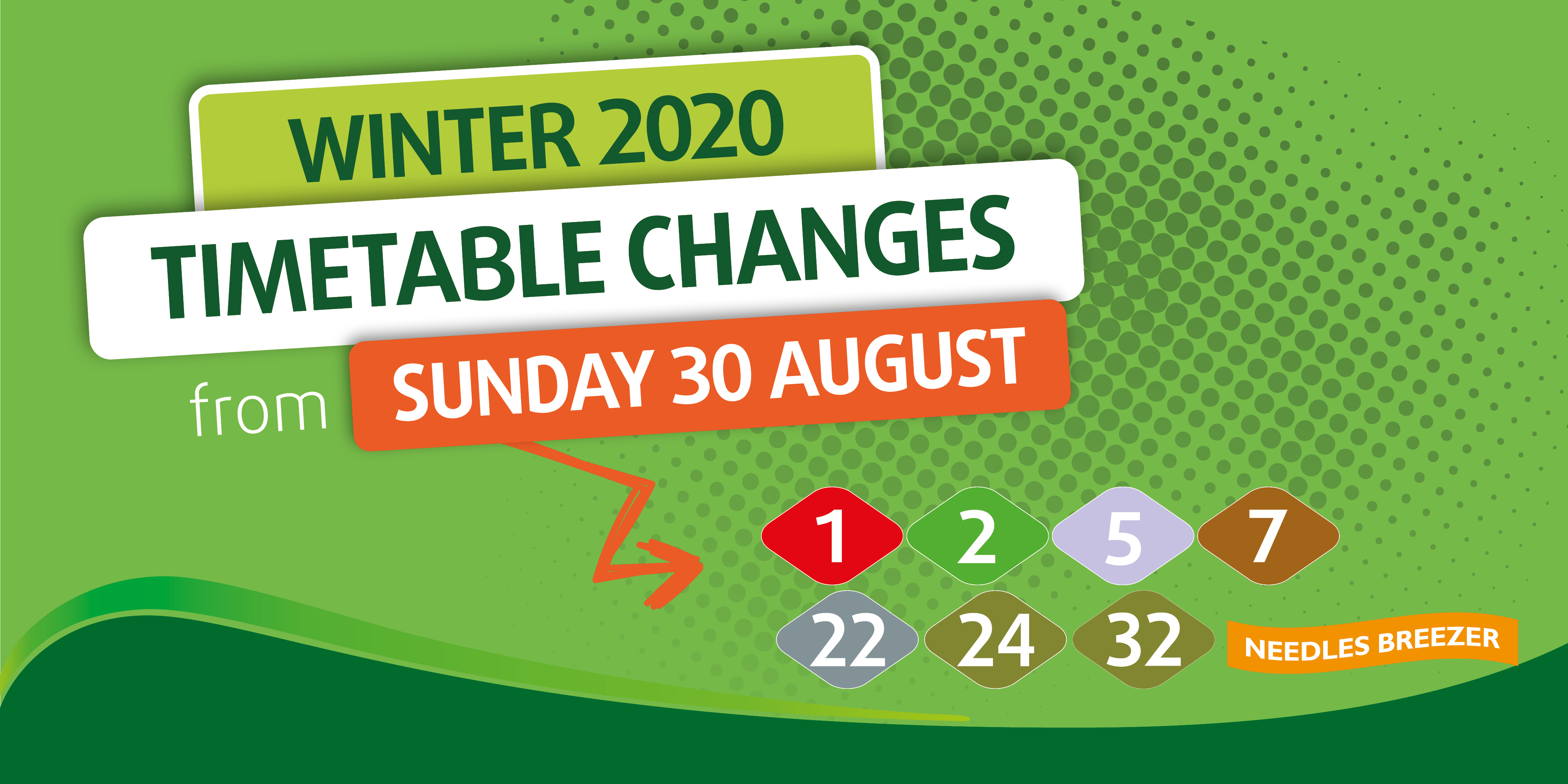 illustration with text winter 2020 timetable changes from sunday 30 august