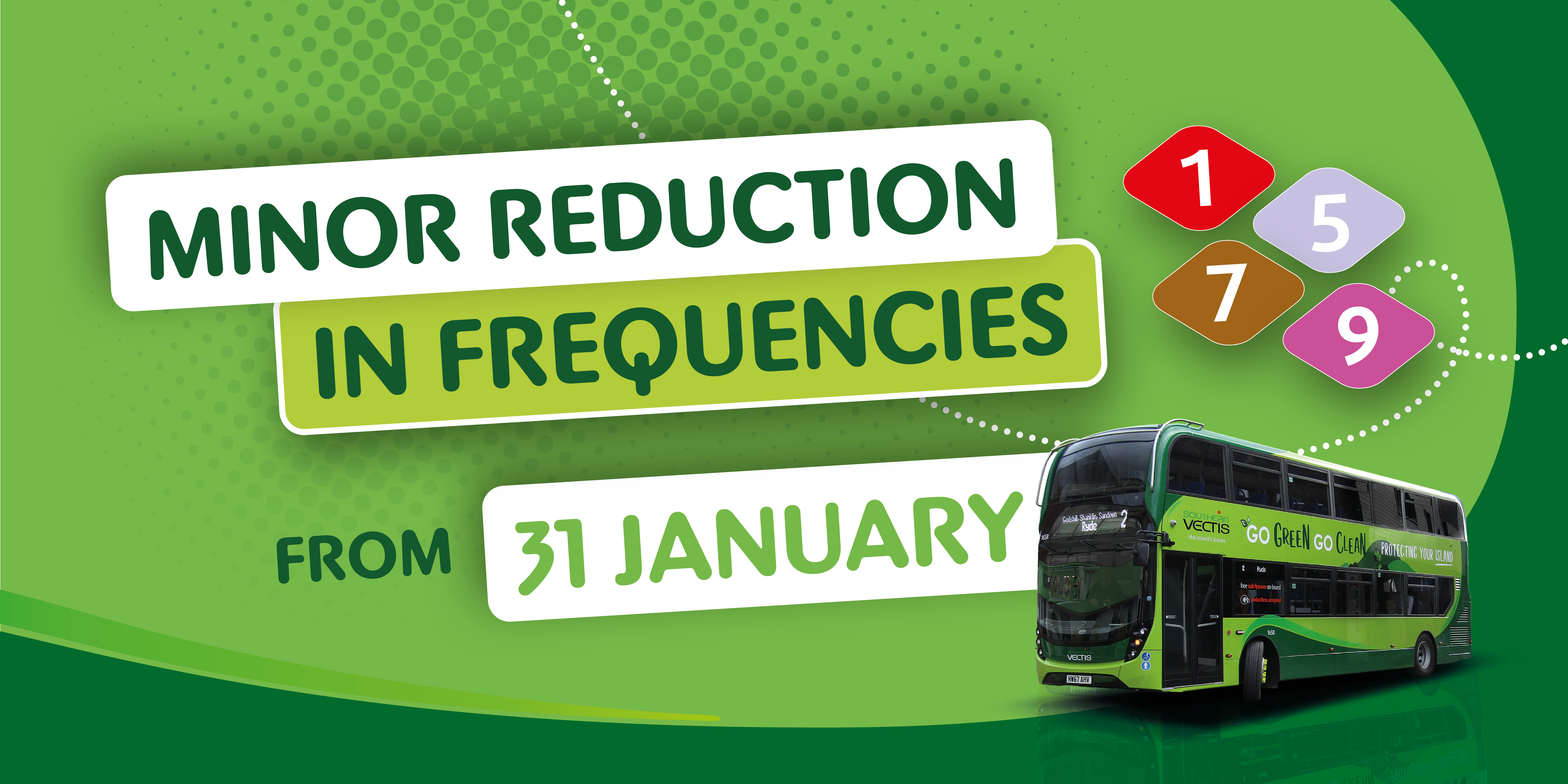 Minor Reduction in frequencies from 31st January and image of bus