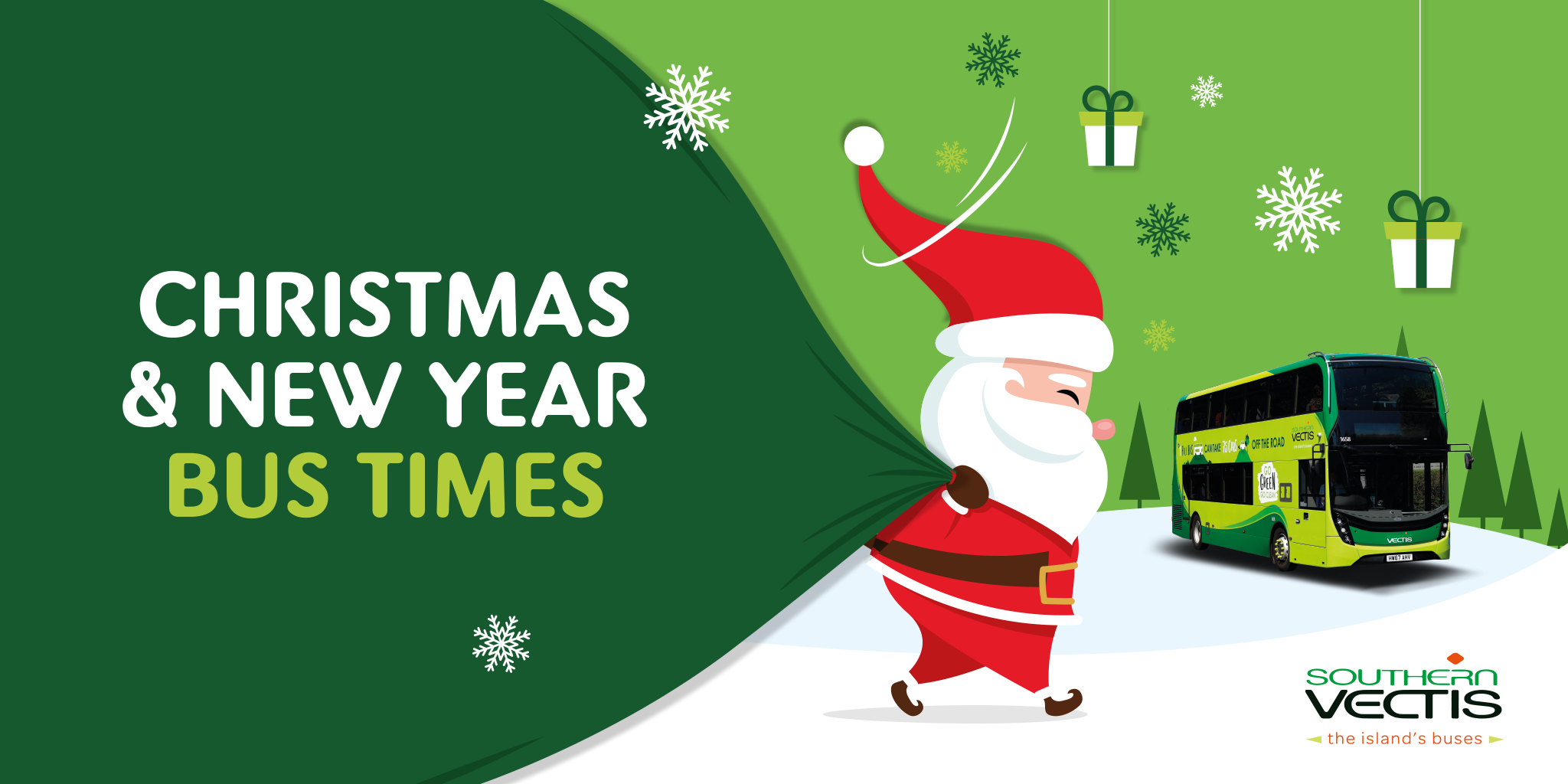 christmas and new year bus times with father christmas and a SV bus